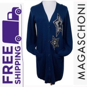 Magaschoni 100% Cashmere Star Sequins Cardigan S